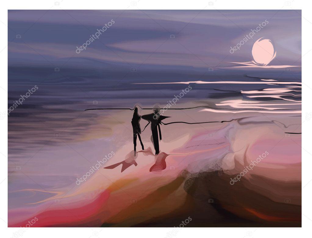 Couple walking near ocean at night