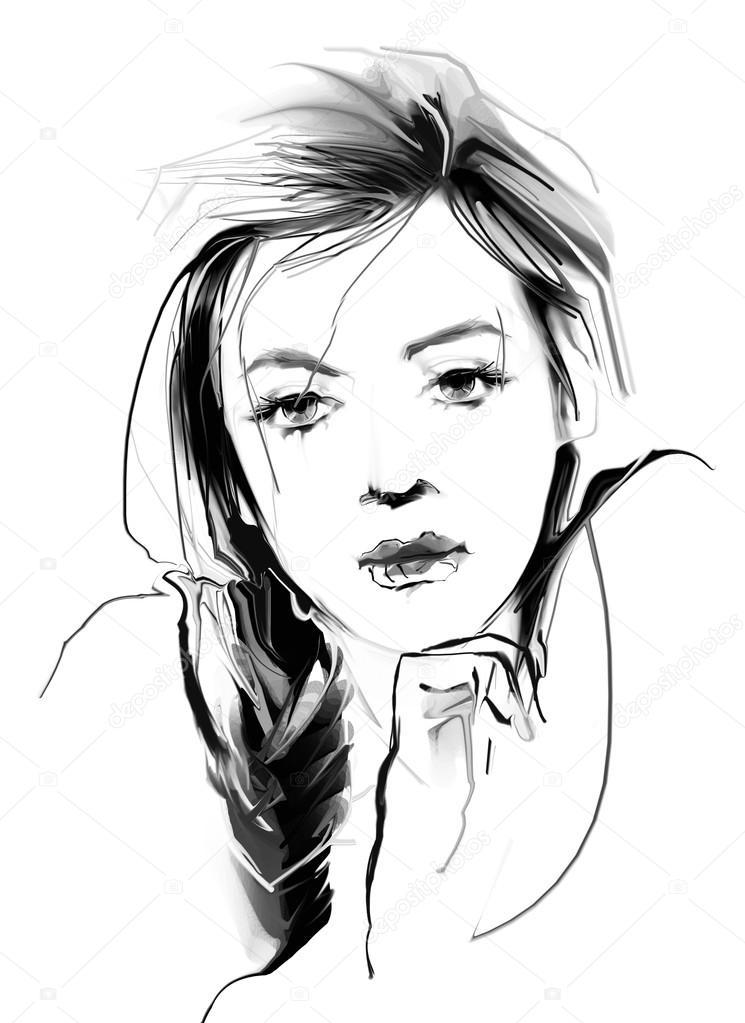 Portrait dessin de belle femme photographie teniteni - Dessin de fille belle ...