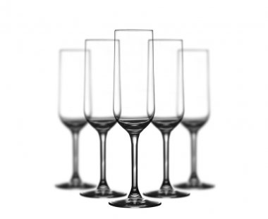 Set of champagne glasses on white background stock vector
