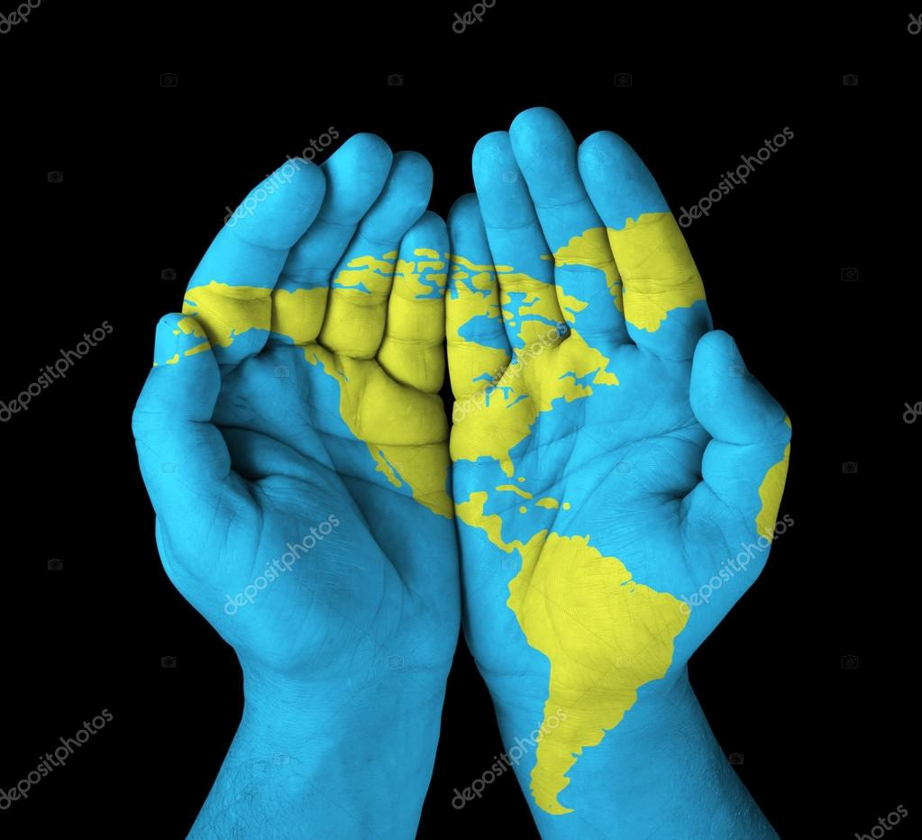 World Map On Hands.World Map Painted On Hands Stock Photo C Chones 38334217