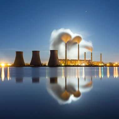 Moonrise over the thermal power plant