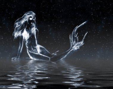 Mermaid in the starry sky
