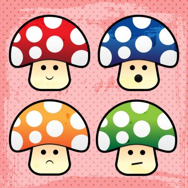 Vector cartoon mushrooms icons