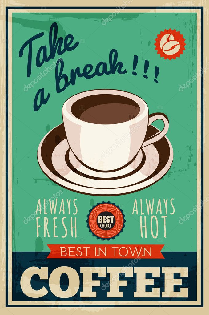 Vector vintage coffee poster