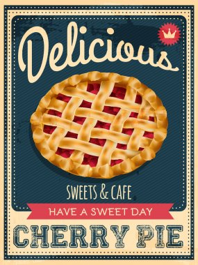 Vector vintage styled cherry pie poster stock vector