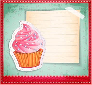 Vector vintage cupcake sticker with a place for text on old paper