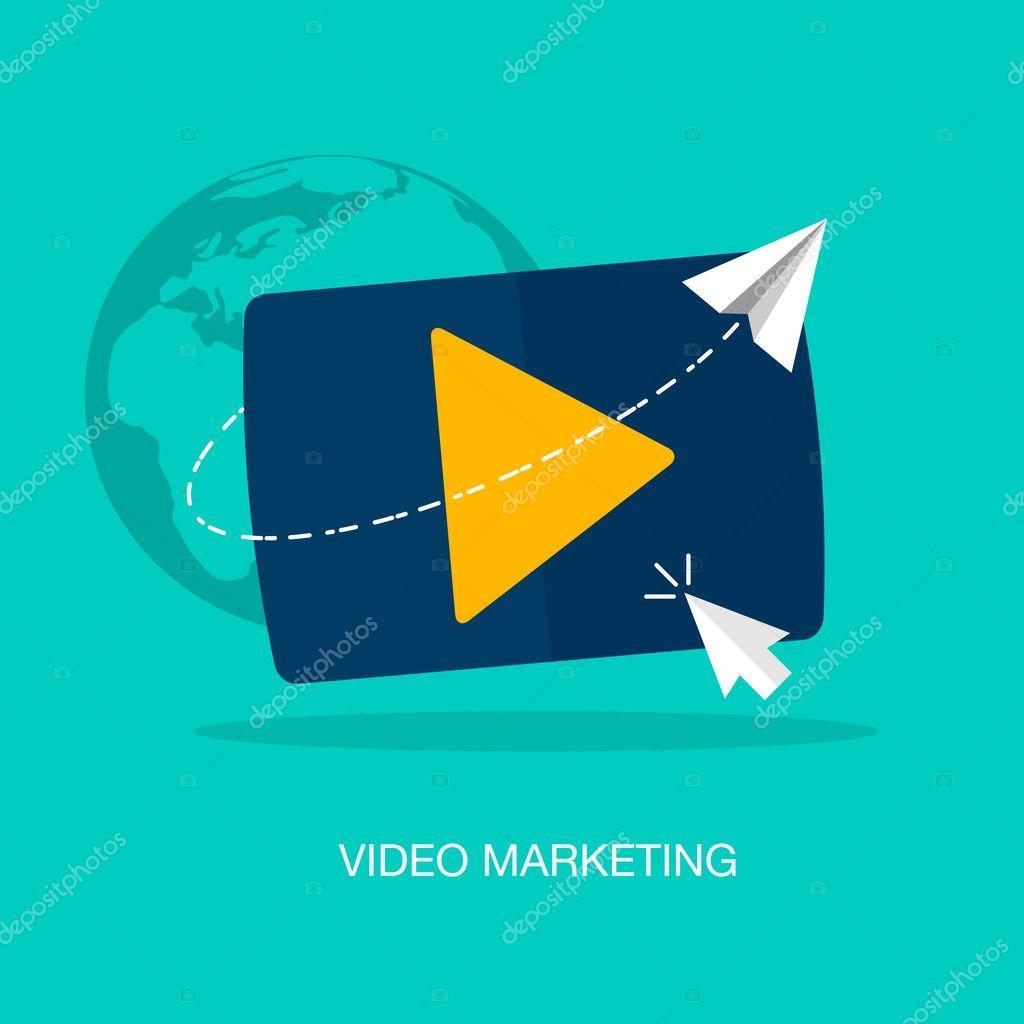 Vector modern video marketing concept