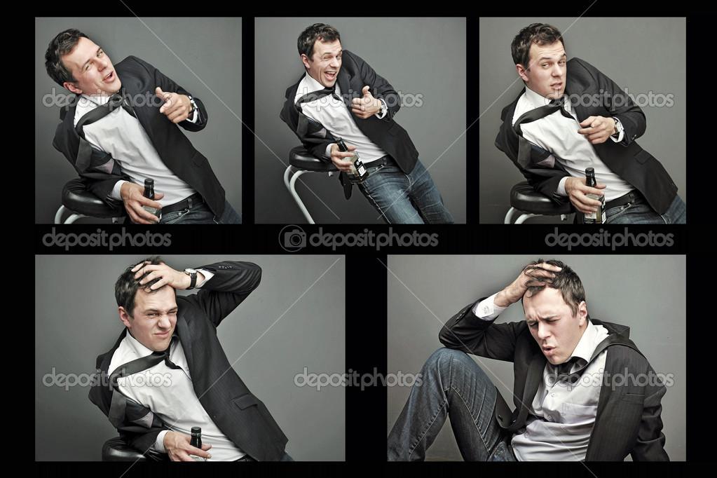 Vestiti Da Ufficio : Collage di giovane ubriaco in vestiti di ufficio u foto stock