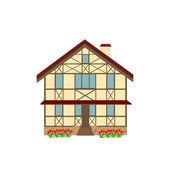 Haus im Fachwerkstil eingerichtet, Illustration