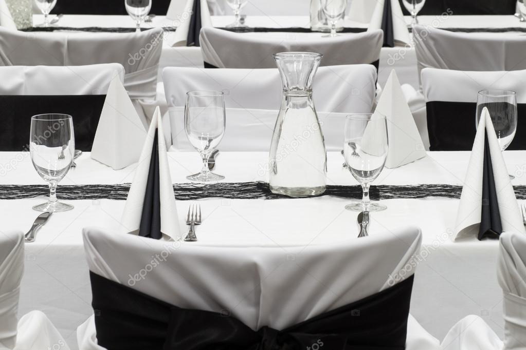 Luxury wedding lunch table setting black and white decoration u2014 Stock Photo & Luxury wedding lunch table setting black and white decoration ...