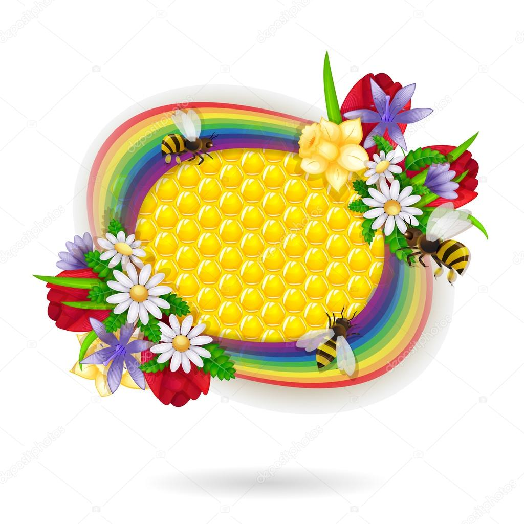 Spring flowers and bee over honeycombs and rainbow background