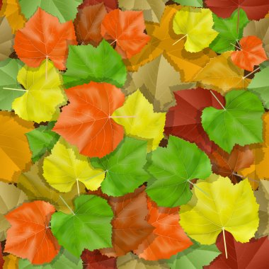 Vector seamless with autumn many-colored leaves