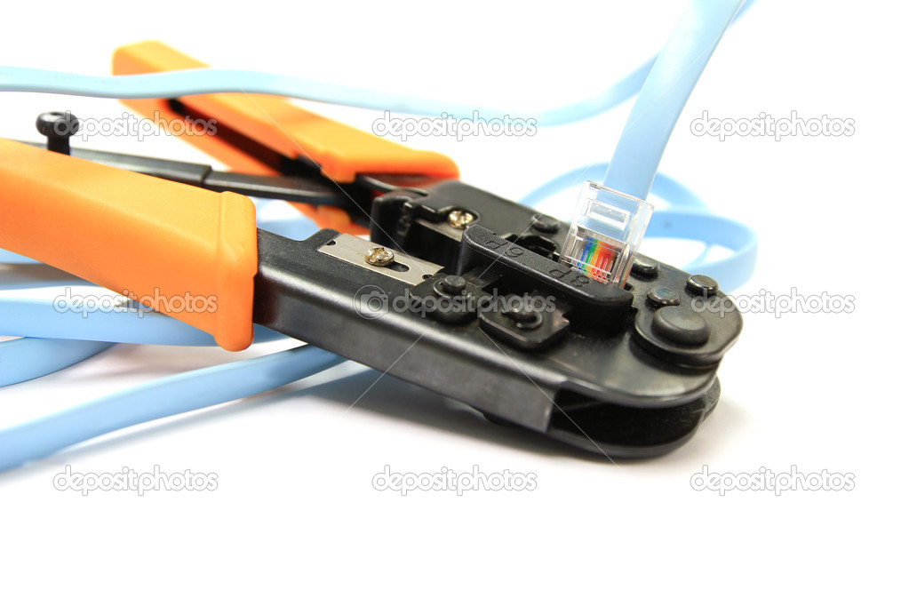 Man building networking data cable stock photo image of digital.