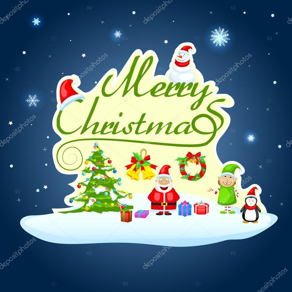 Wünsche Frohe Weihnachten.Ich Wünsche Frohe Weihnachten Weihnachtsmann Stockvektor