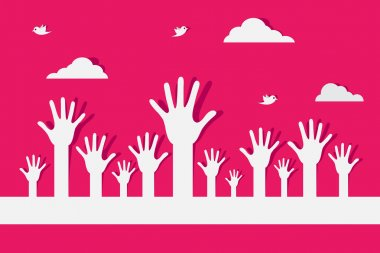 Vector Colorful Raised Hands