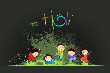 Easy to edit vector illustration of kids enjoying Holi stock vector