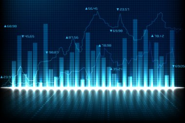 Easy to edit vector illustration of financial graph chart stock vector