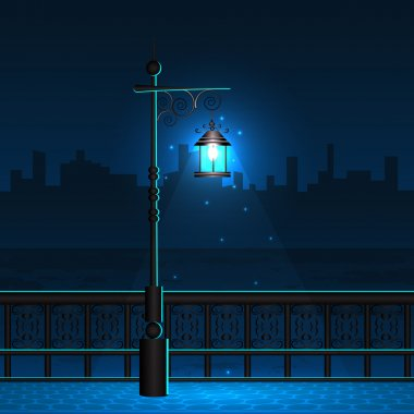 Lamp Post in Night City View