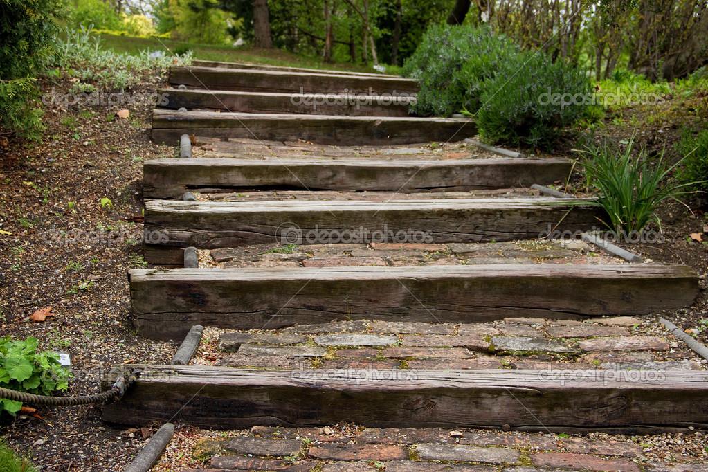 Scale in legno nel parco foto stock pemaphoto 44956189 - Scale da giardino ...