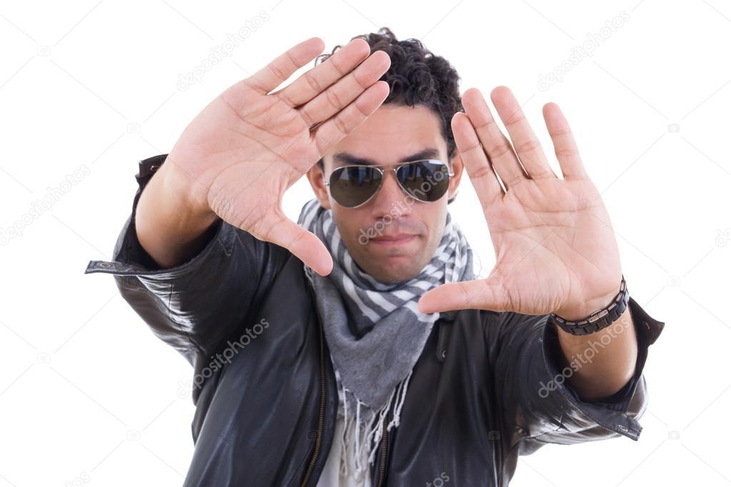 Bufanda Sol Gafas De Hombre Guapo Con Chaqueta Cuero 0xTcOq