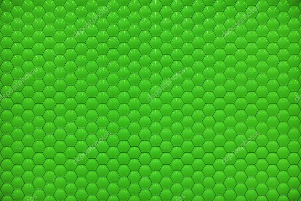 Green Shiny Hexagon Bubble Tile Texture Background Stock