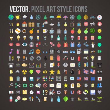 Vector color pixel art style icons set