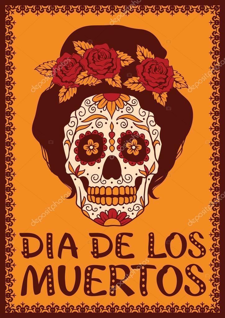 Frame mit mexican Skull girl — Stockvektor © rvvlada #32478831