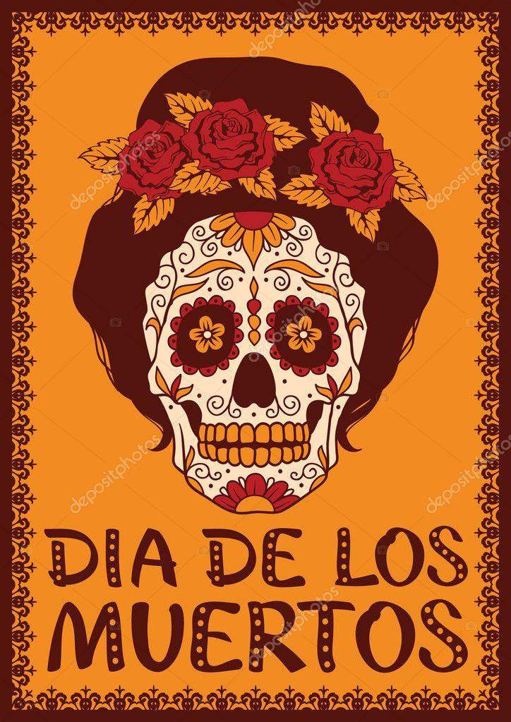 Frame Met Mexicaanse Schedel Meisje Stockvector Rvvlada 32478831