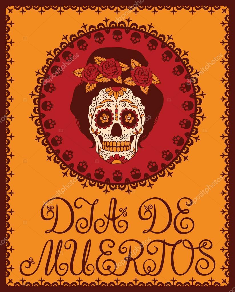 Frame Met Mexicaanse Schedel Meisje Stockvector Rvvlada 32478879