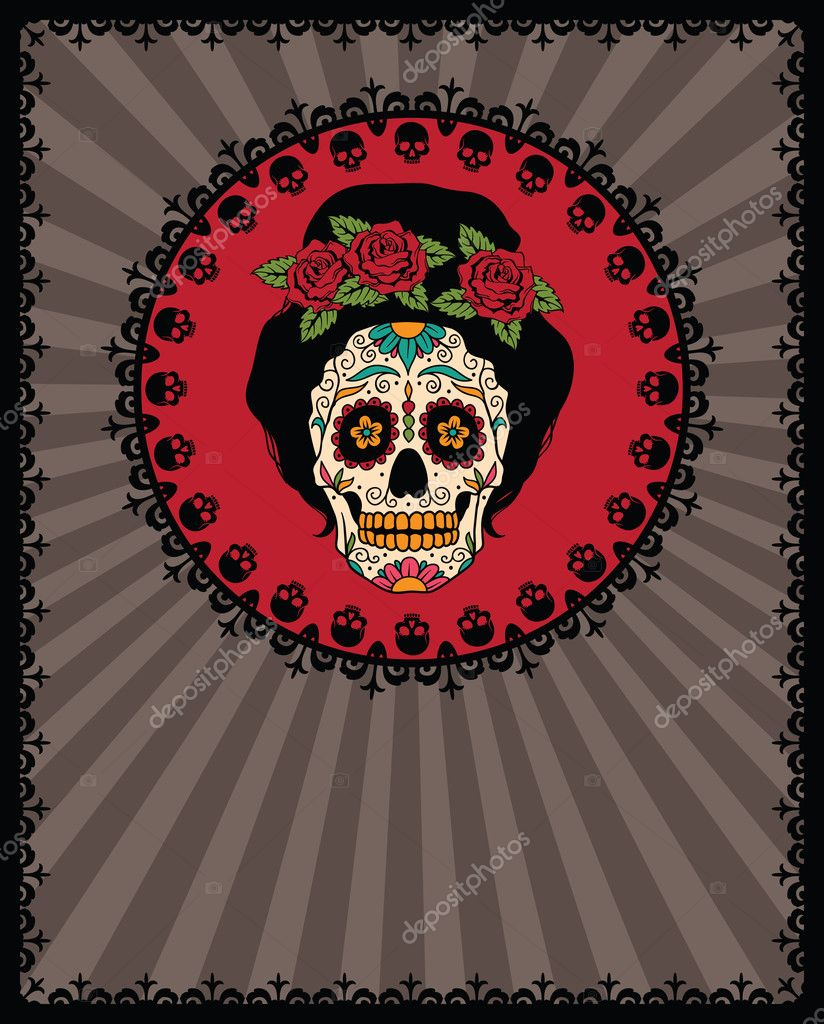 Frame mit mexican Skull girl — Stockvektor © rvvlada #32478891