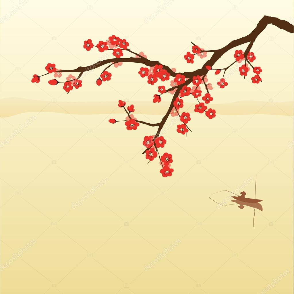 Plum blossom and fisherman