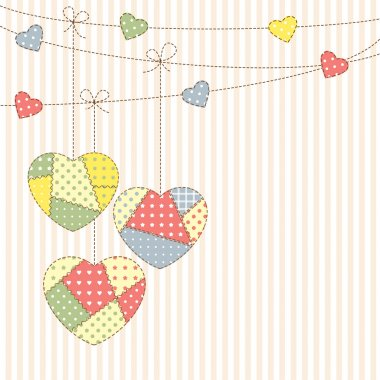 Hearts garland in patchwork style