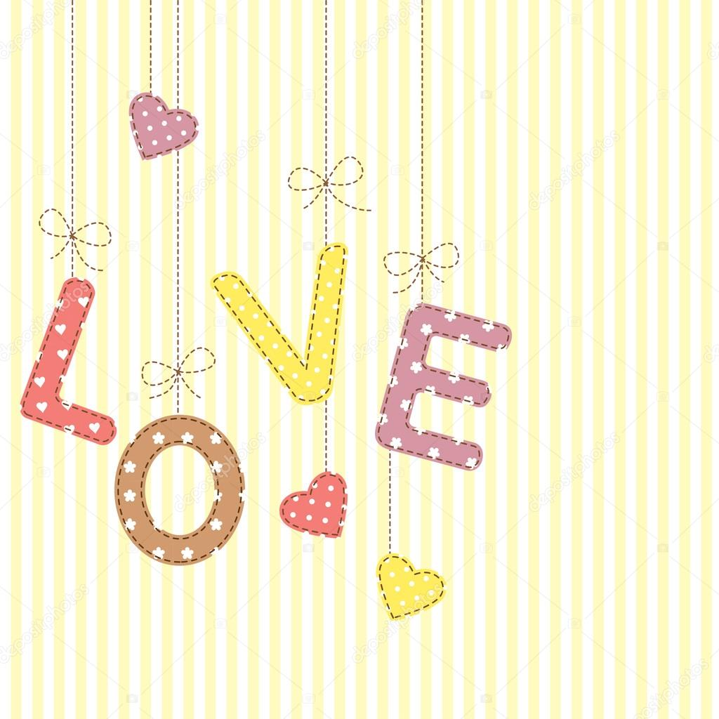 Cartas De Amor No Estilo Patchwork Vetores Stock