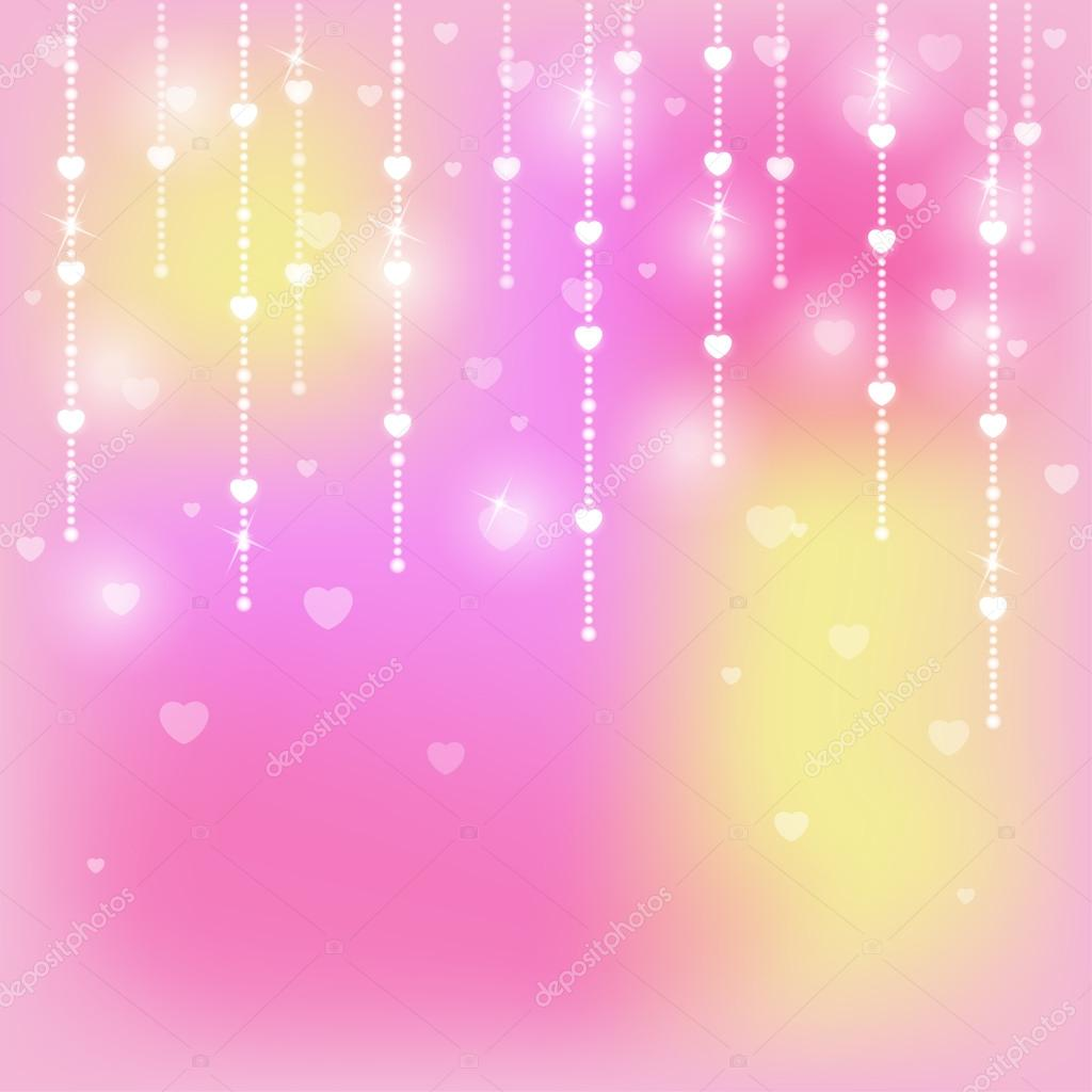 Glittering background with hearts