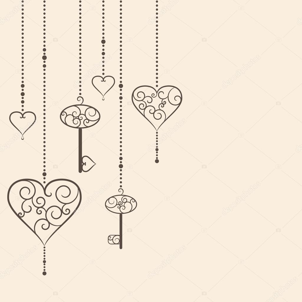 Vector Key Illustration: Vintage Hearts And Keys Hanging