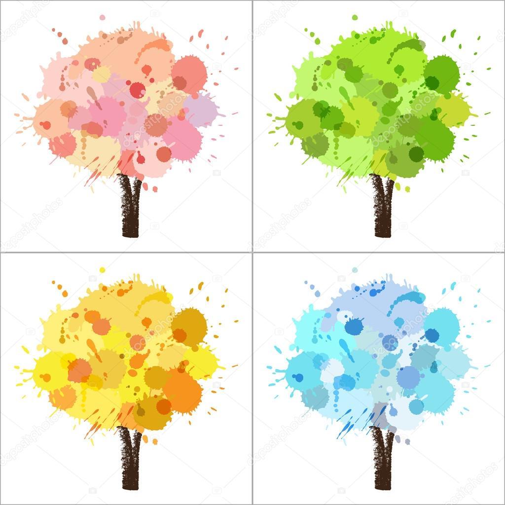 Dört Mevsim Ağaç Stok Vektör Catchat 45922729
