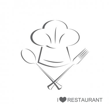 Restaurant 2, Chef hat with spoon and fork on isolated white background