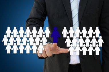 Team leader for teamwork concept