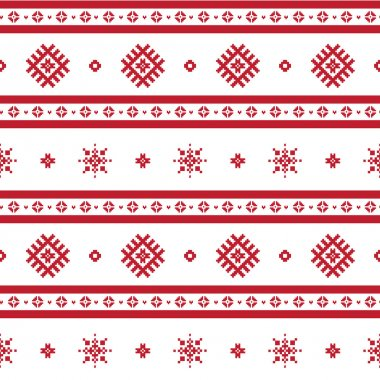 Red nordic knitted seamless pattern