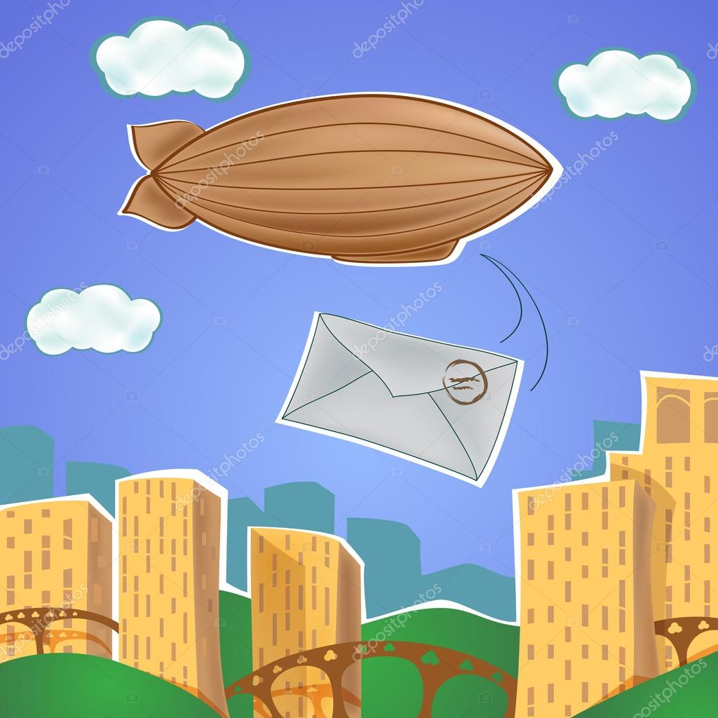 Urban landscape with blimp and letter