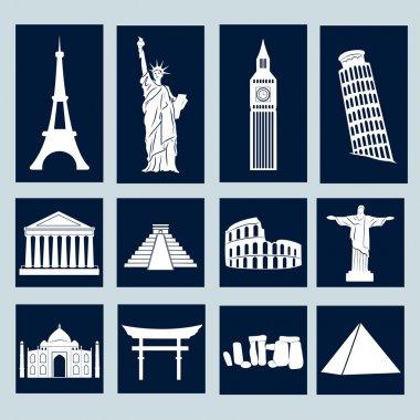 World landmarks, icons set