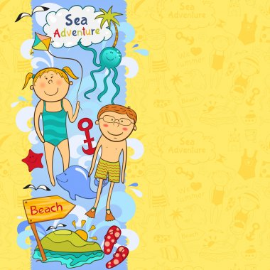 Cute children's  border with beach elements