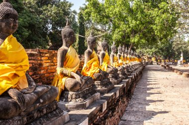 Row of Buddha statues at the temple in Ayutthaya