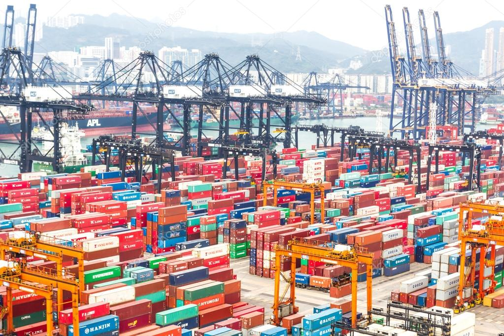 Containers At Hong Kong Commercial Port Stock Editorial Photo