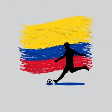 Soccer Player action with Republic of Colombia flag on backgroun