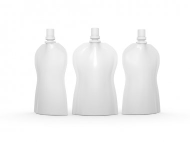 White blank stand up curve  bag packaging with spout lid, clippi