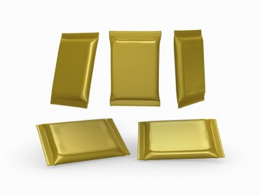 Gold foil  plain flow wrap packet with clipping path