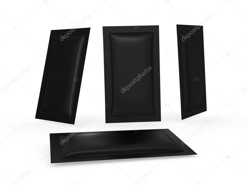 Black heat sealed packet with clipping path — Stock Photo © liquor