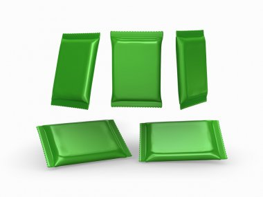 Green foil  plain flow wrap packet with clipping path