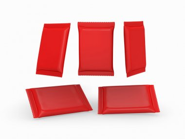 Red plain flow wrap packet with clipping path
